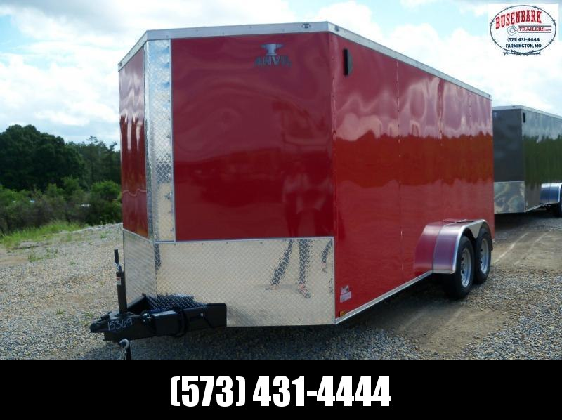 16X084 Anvil Red Tandem Axle Cargo Trailer AT7X16TA2