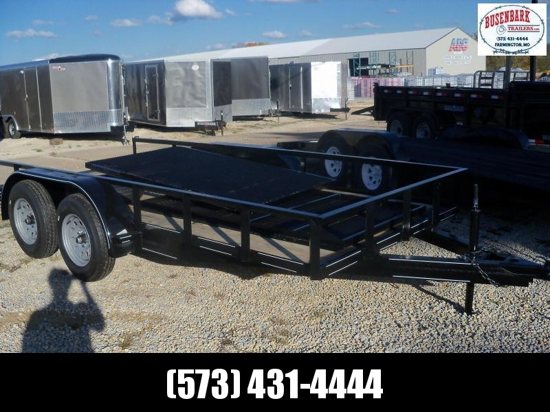 14x077 Busenbark Black Utility Trailer With Gate and Brake UT7714