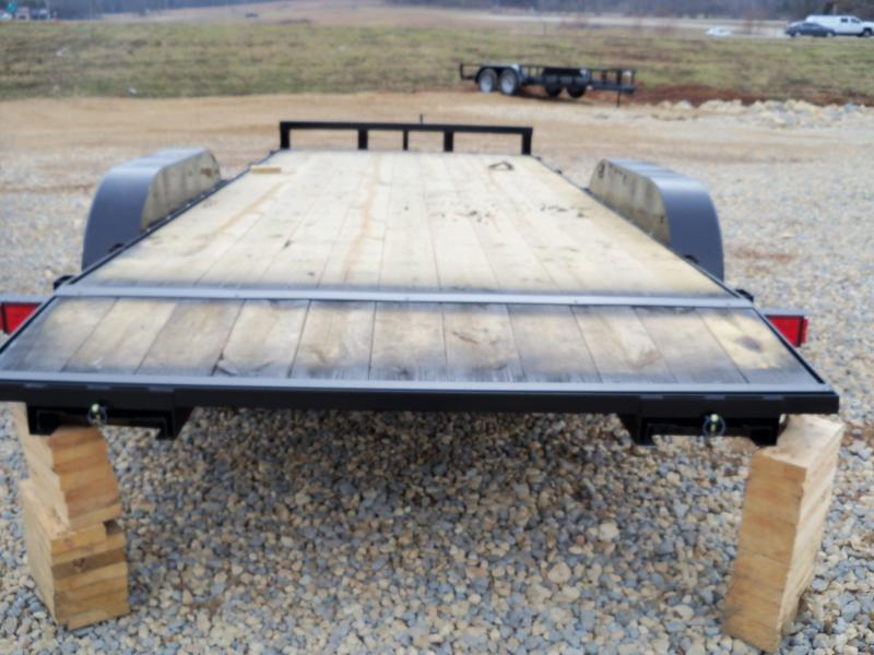 18X083 Busenbark Black Flatbed Trailer Dovetail Extra Wide With Brake 5' Slide In Ramps FB8318