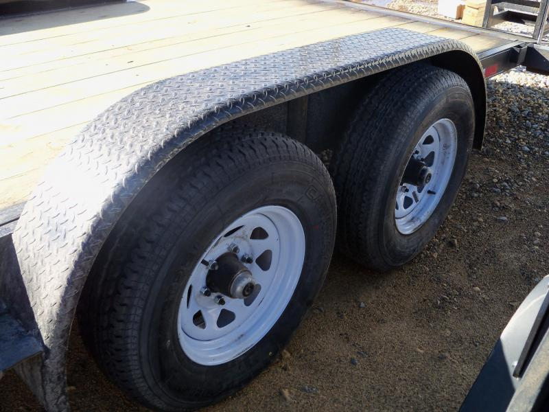 20X083 Busenbark Black Flatbed Trailer Extra Wide Dovetail Fold Up Ramps FB8320
