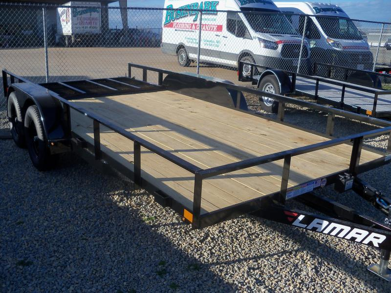 16X083 Lamar Black Classic Utility Trailer 4' Gate Treated Wood UT831623
