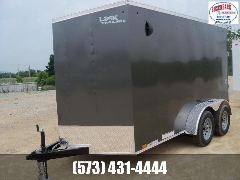 12X072 Look Charcoal Enclosed Cargo Trailer With Ramp Rear Door LSCAB6.0X12TE2FF