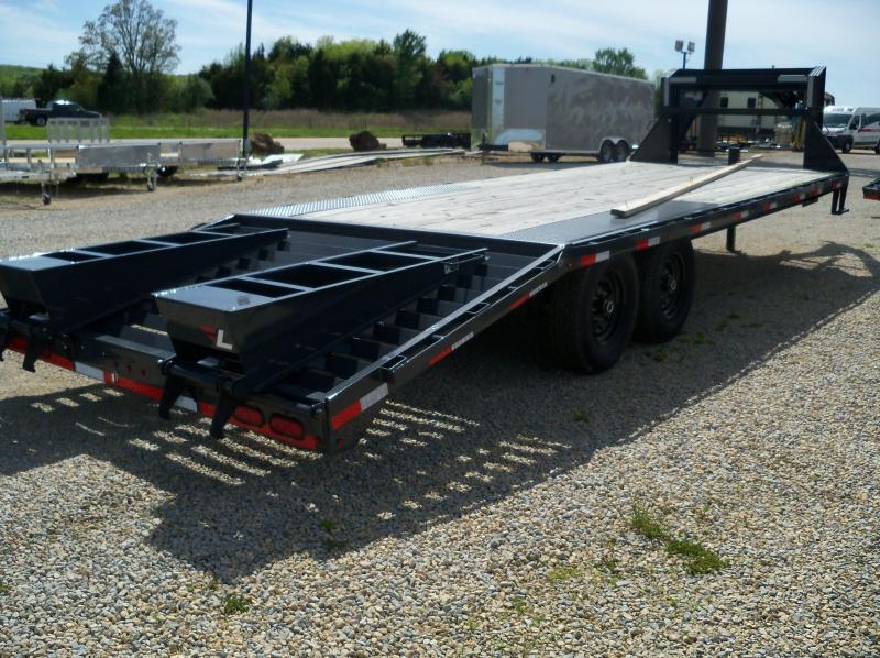 24X102 Lamar Charcoal Gooseneck Deck Over 5' Dove Flip Over Ramps F8022427