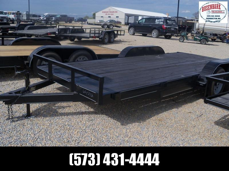 18X083 MEB Black Flatbed Trailer Dovetail Extra Wide With Brake 5' Slide In RampsFB8318