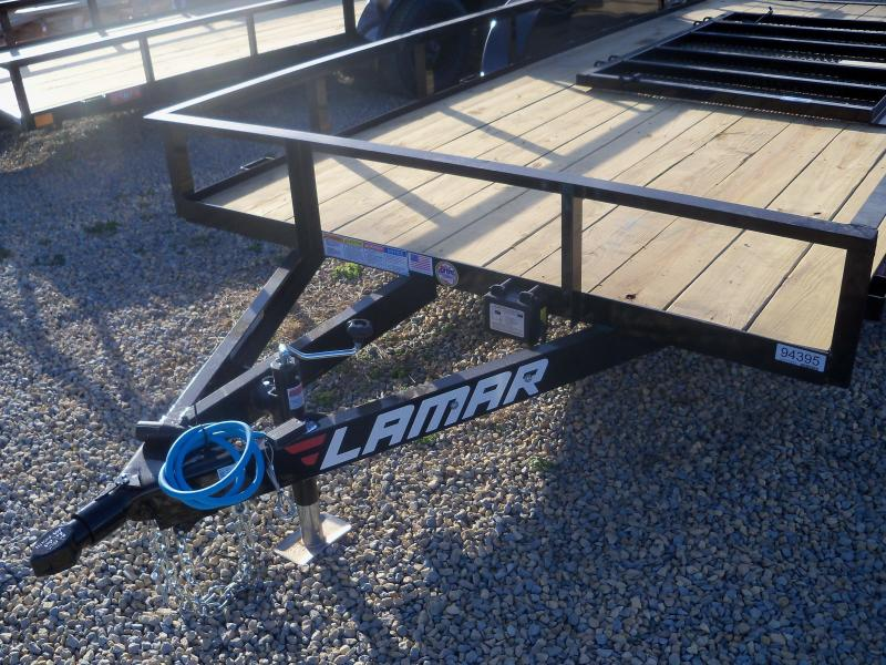 16X077 Lamar Black Classic Utility Trailer 4' Gate Treated Wood UT771623