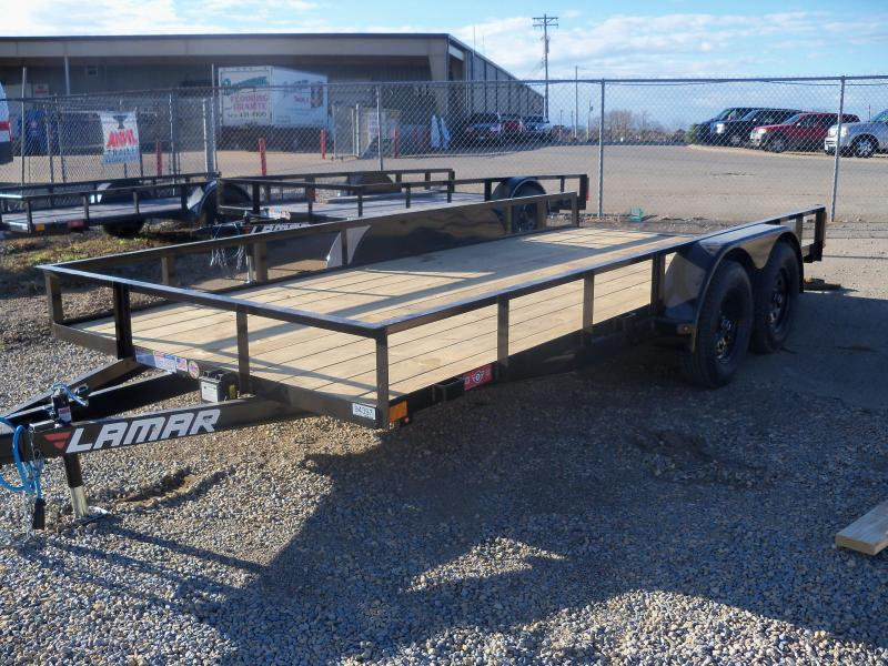 16X083 Lamar Black Classic Utility Trailer Slide In Ramps Treated Wood UT831623