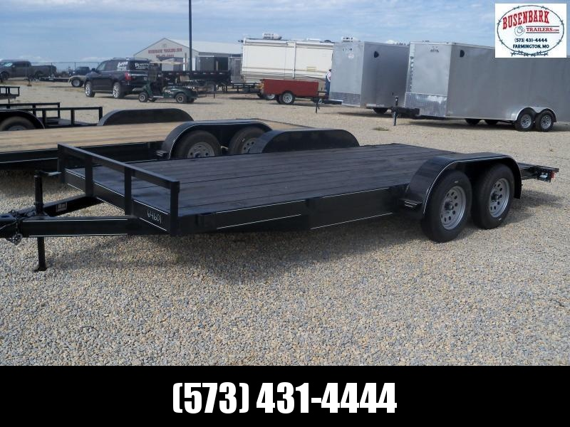18X083 MEB Black Flatbed Trailer Dovetail Extra Wide With Brake 5' Slide In Ramps FB8318