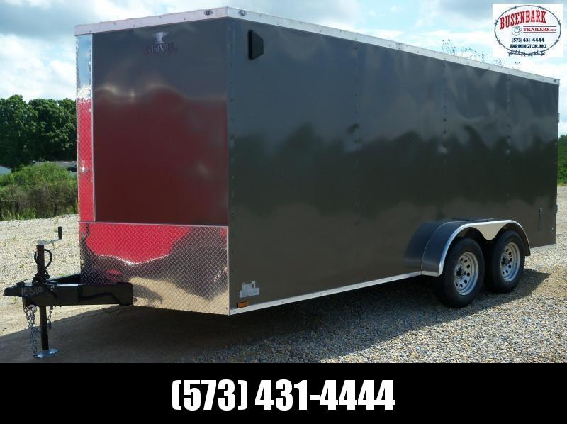 16X084 Anvil Charcoal Double Rear Door Cargo Trailer AT7X16TA2