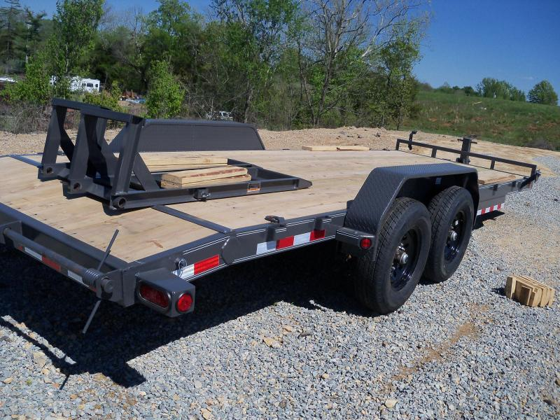 22X083 Load Trail Gray Carhauler 2' Dovetail & Fold Up Ramps CH8322072