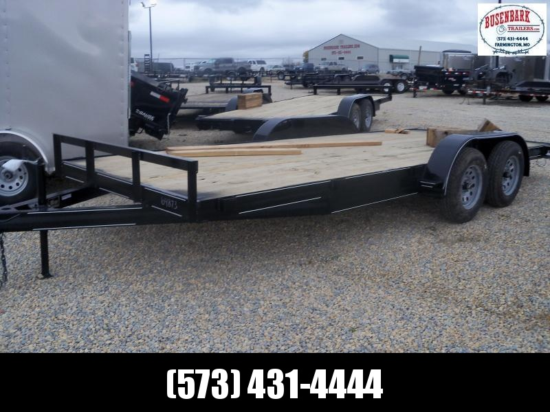 18X083 Busenbark Black Flatbed Trailer Extra Wide 5' Slide In Ramp Rec FB8318