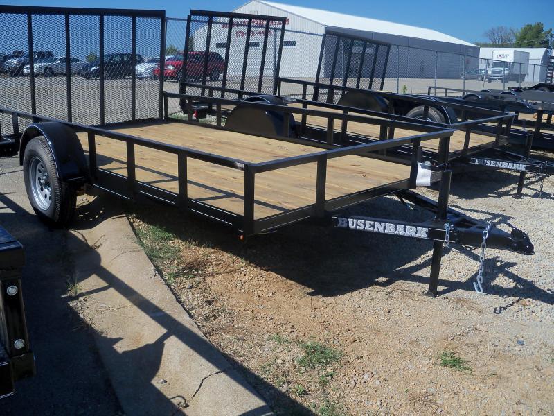 12X077 Busenbark Black Utility Trailer With Gate UT7712