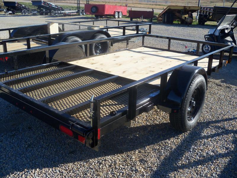12X077 Lamar Black Classic Utility Trailer 4' Gate Treated Wood UT771213