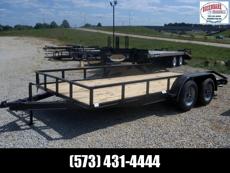16X083 MEB Black Utility Trailer Extra Wide With Brake 5' Slide In Ramps UT8316