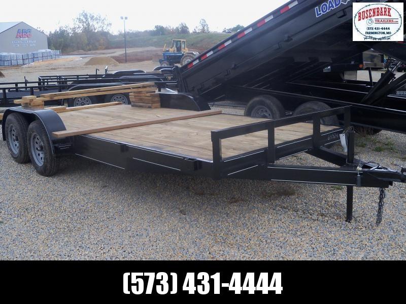 18X083 Busenbark Black Flatbed Trailer Dovetail Extra Wide 5' Slide In Ramps FB8318