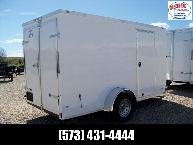 12X072 Anvil White Enclosed Cargo Trailer Dbl Rear Doors AT6X12SA