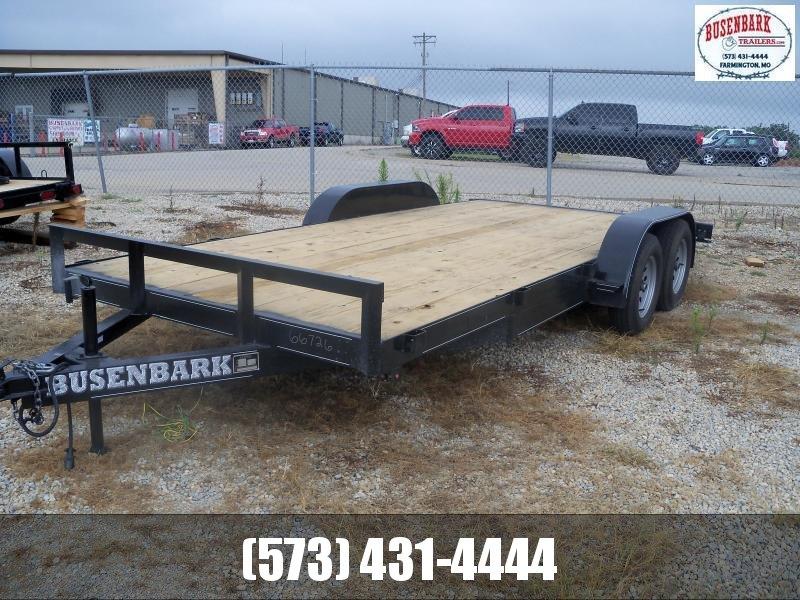 18X083 Busenbark Black Flatbed Trailer X Wide Slide In Ramps FB8318