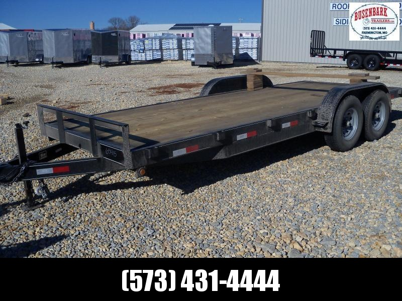 20X083 Busenbark Black Flatbed Trailer Extra Wide Dovetail Slide In Ramps FB8320