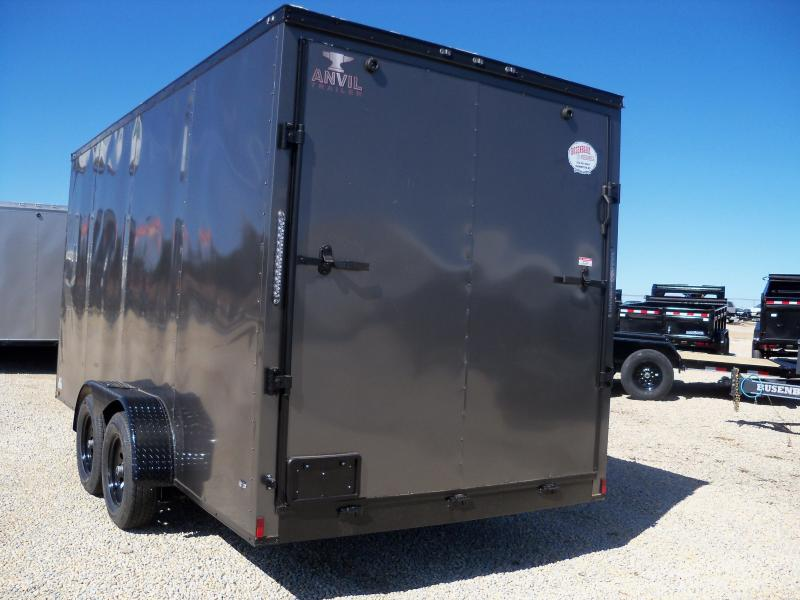 16x084 Anvil Charcoal Enclosed Cargo Trailer V-Nose 7' Height AT7X16TA