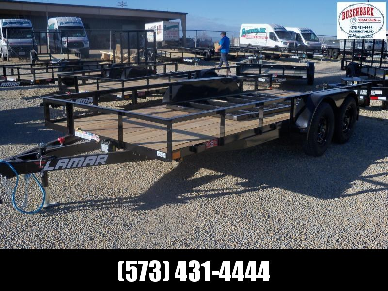 16X077 Lamar Black Classic Utility Trailer 4' Gate Treated Wood UT771623