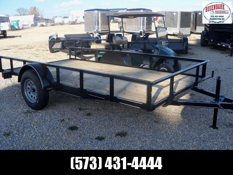 12X077 Busenbark Black Utility Trailer With Gate UT7712
