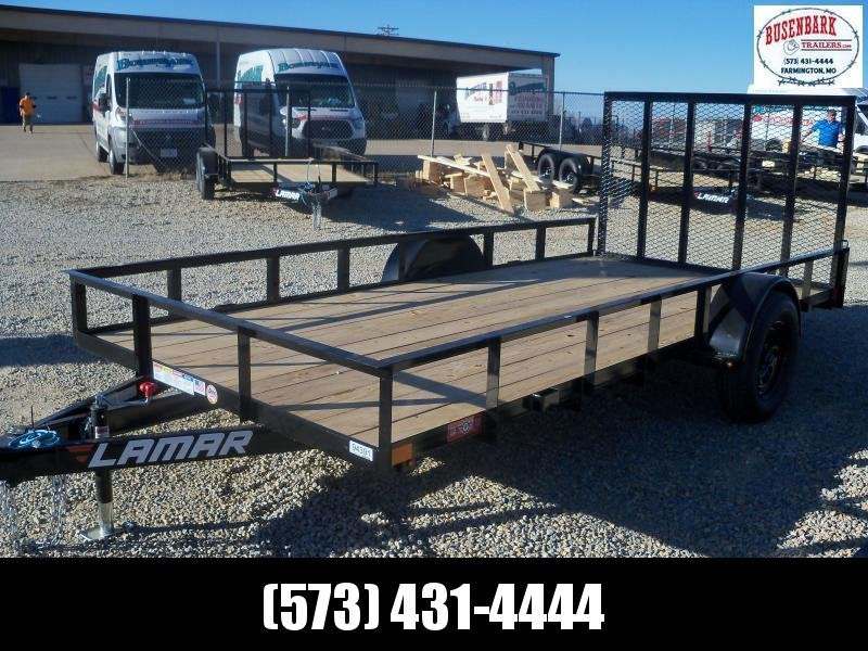 14X077 Lamar Black Classic Utility Trailer 4' Gate Treated Wood UT771413