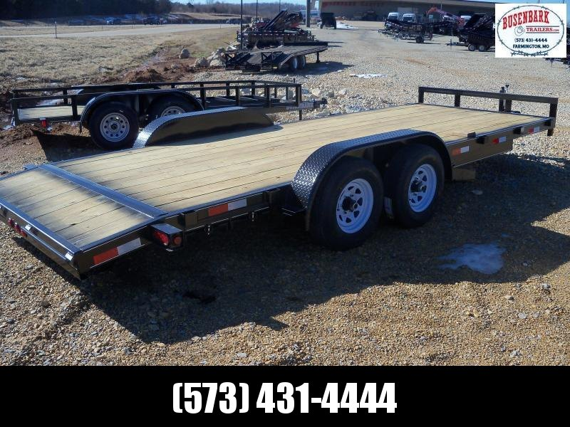 20X083 Busenbark Black Flatbed Trailer Extra Wide Dovetail Slide Under Ramps FB8320