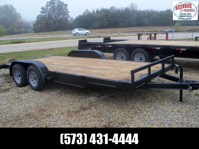 18X083 Busenbark Black Flatbed Trailer Dovetail Extra Wide Brake 5' Slide In Ramps FB8318
