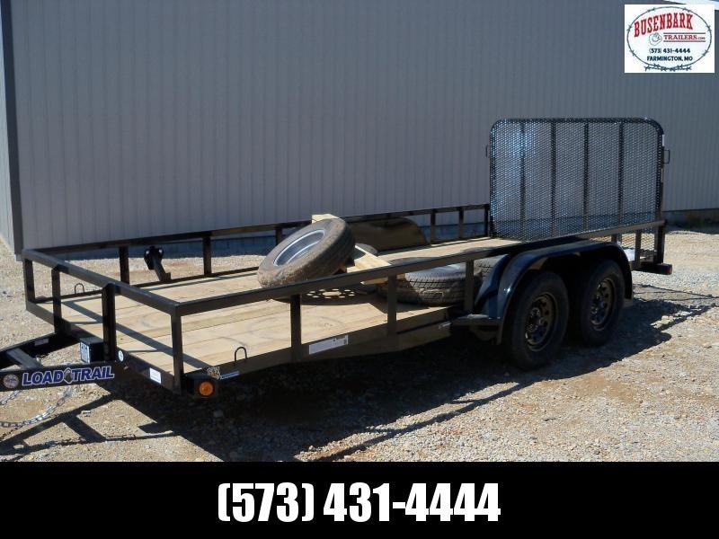 16x077 Load Trail Black Utility Trailer Square Tube Side Rails & 4' Fold Gate UE7716032