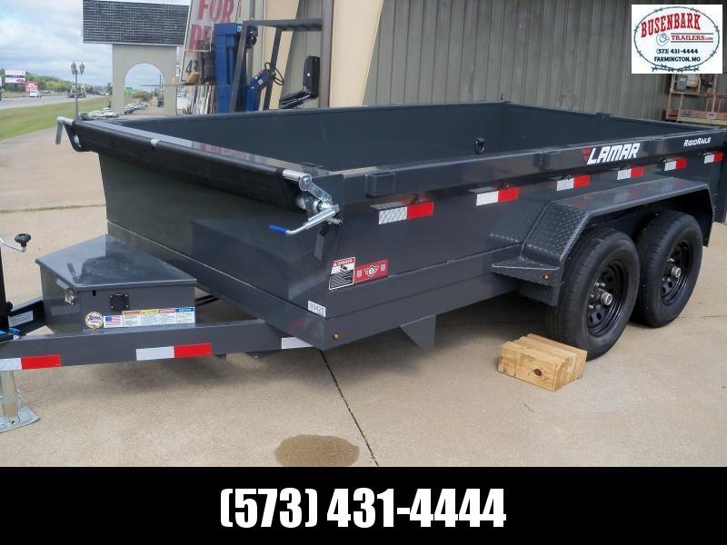 12X077 Lamar Charcoal Dump Trailer Barn Doors Slide In Ramps DM771225
