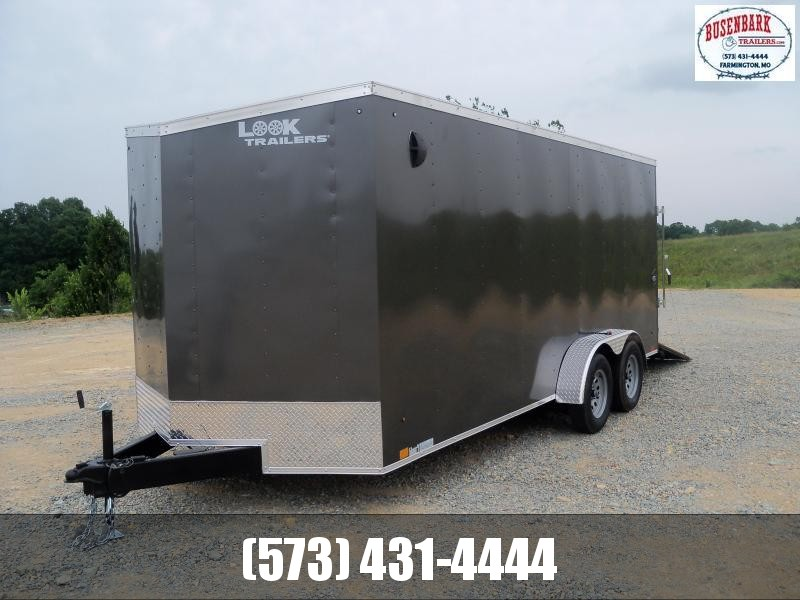 18X084 Look Charcoal Enclosed Cargo Trailer With Ramp Rear Door  LSCAB7.0X18TE2FF