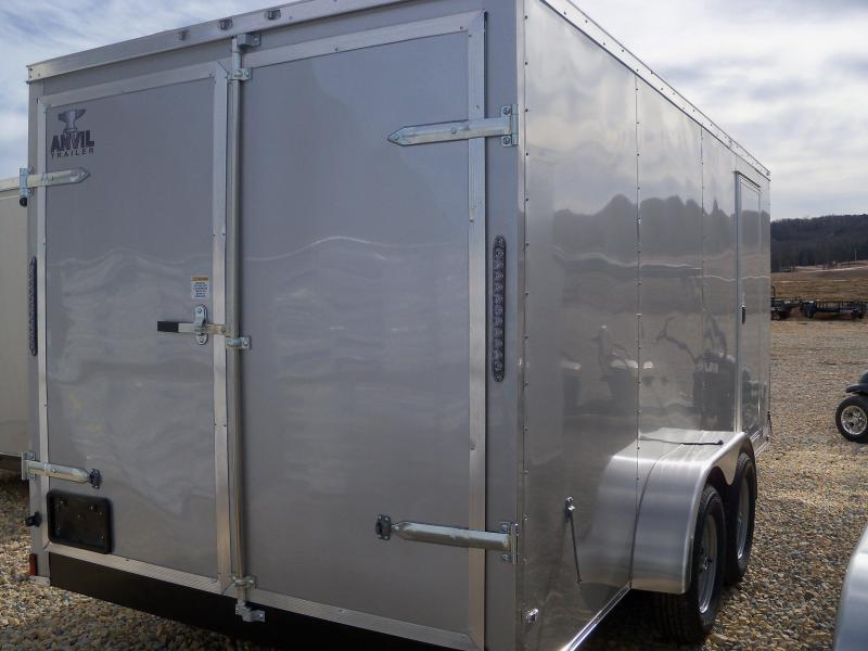 16X084 Anvil Silver Enclosed Cargo Trailer Doube Rear Doors AT7X16TA