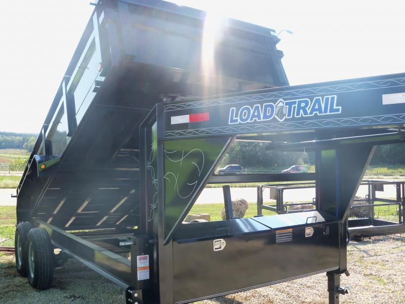 16X083 Load Trail Black Gooseneck Dump Trailer Slide In Ramps GD8316072