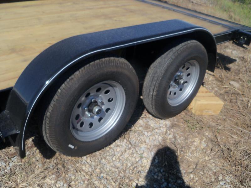 18X083 Busenbark Black Flatbed Trailer Dovetail With Brake & Slide In Ramps FB8318