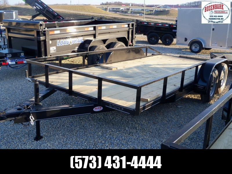 16X083 Busenbark Black Utility Trailer Extra Wide With Brake 5' Slide In Ramps UT8316