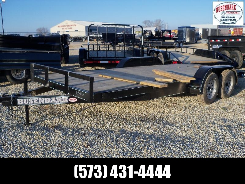 18X083 Busenbark Black Flatbed Trailer Extra Wide With Brake 5' Slide In Ramps FB8318