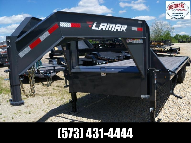 25x102 Lamar Charcoal Gooseneck Trailer 5' Dove Flip Over Ramps  FS022527