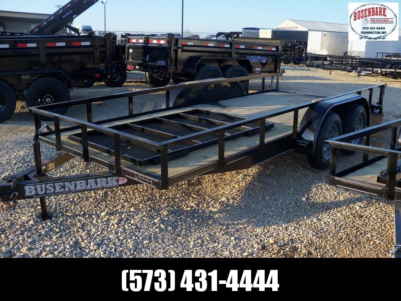 16X077 Busenbark Black Utility Trailer With Gate UT7716