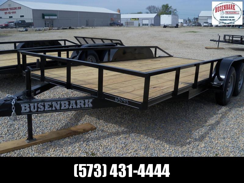 16X083 Busenbark Black X Wide Flatbed Trailer With Slide Under Ramps FB8316