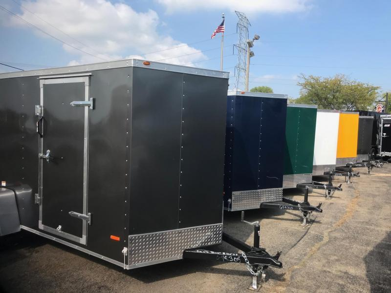 7X14 Enclosed V-Nose Trailer W - Ramp Door