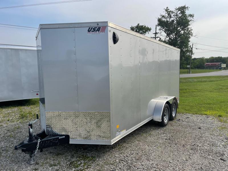7X16 Enclosed V-Nose Trailer W - Ramp Door  6ft 6in interior