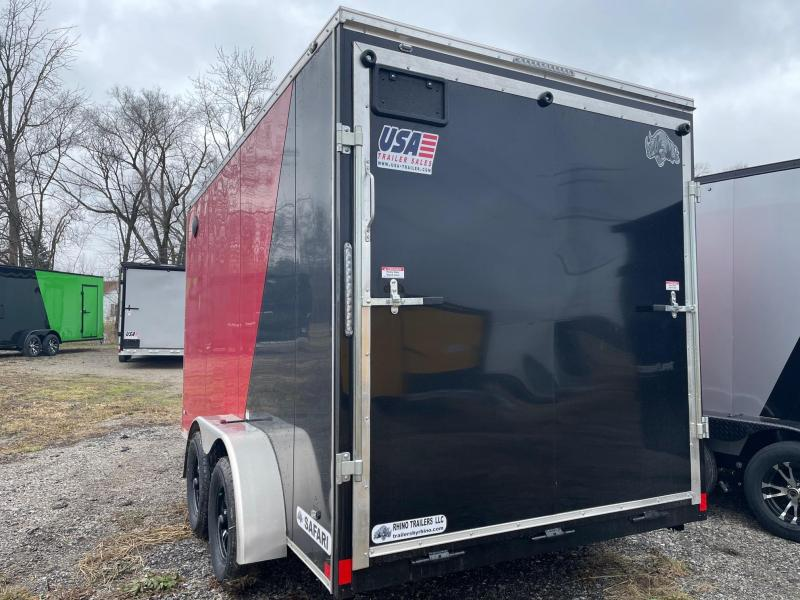 7 x 14  Rhino Safari - Enclosed Trailer - w/ Ramp Door BLACK OUT  7ft Interior UTV Package