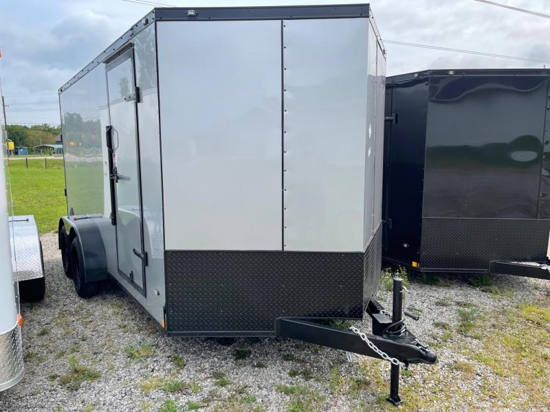 7 x 14 7K Rhino Safari - Enclosed Trailer - w/ Ramp Door 7,000 GVW  6ft 6IN Interior Black OUT Trim