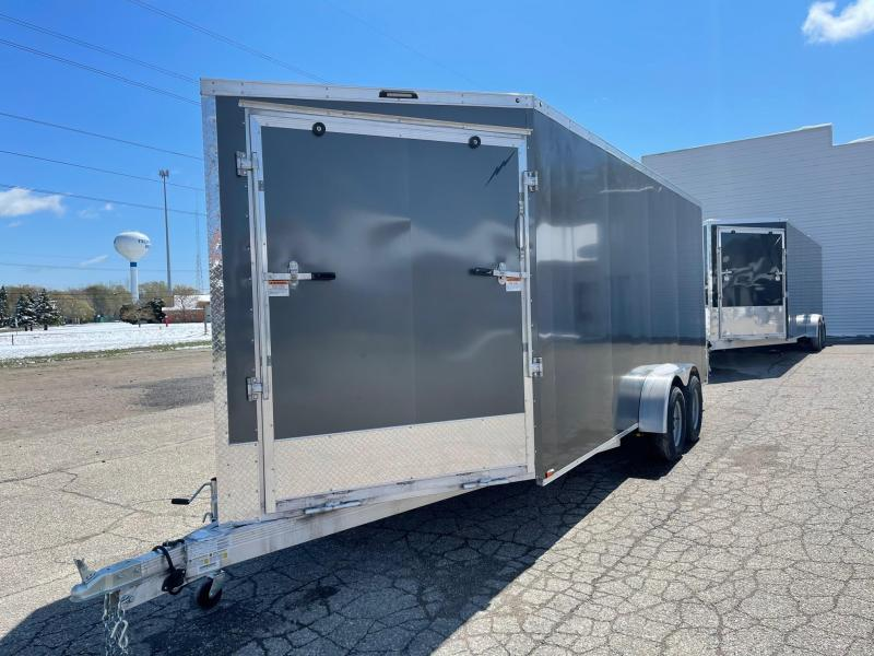 New 7 X 23 3 - Place Enclosed Snowmobile Cargo Trailer with Extra Height