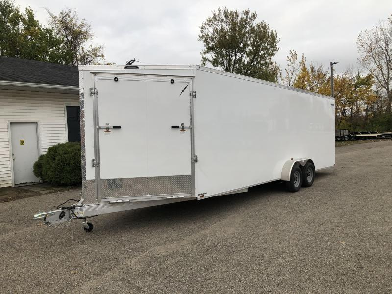 New 7 x 29  5 -Place Enclosed All Aluminum Snowmobile Cargo Trailer with Extra Height