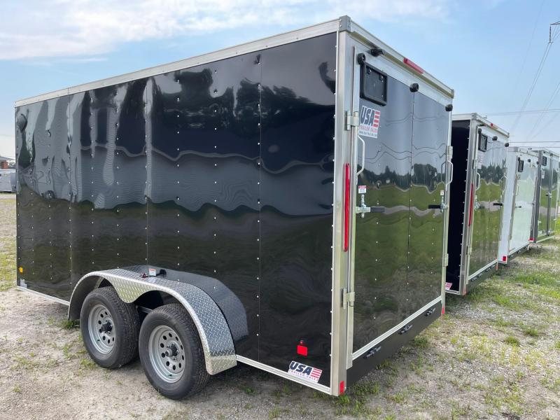 7X14 Enclosed V-Nose Trailer W - Ramp Door  6ft 6in interior DAMAGED