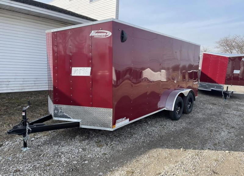 7X16 Enclosed V-Nose Trailer W - Ramp Door