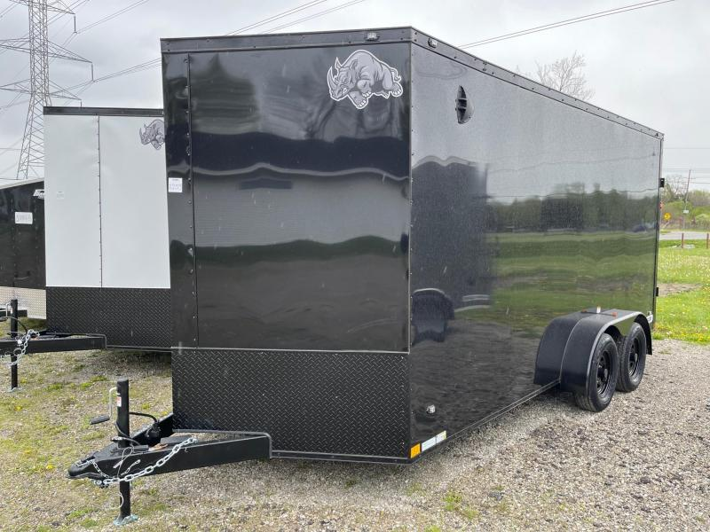 7 x 16  Rhino Safari - Enclosed Trailer - w/ Ramp Door 7000 GVW  7ft Interior