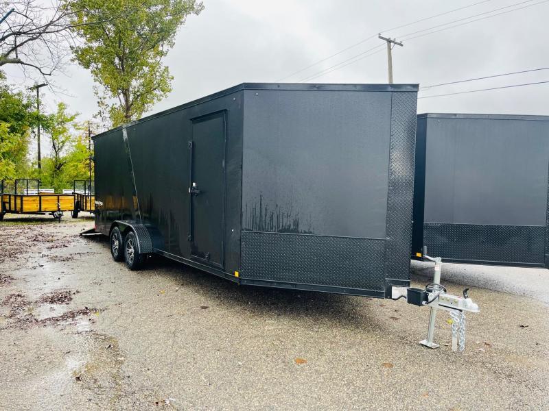 New 7x27 4-Place Enclosed Aluminum Snowmobile Trailer.