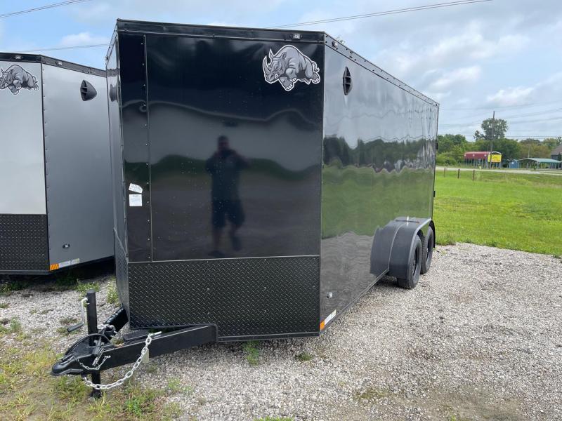 7 x 16 7K Rhino Safari - Enclosed Trailer - w/ Ramp Door 7,000 GVW  6ft 6IN Interior