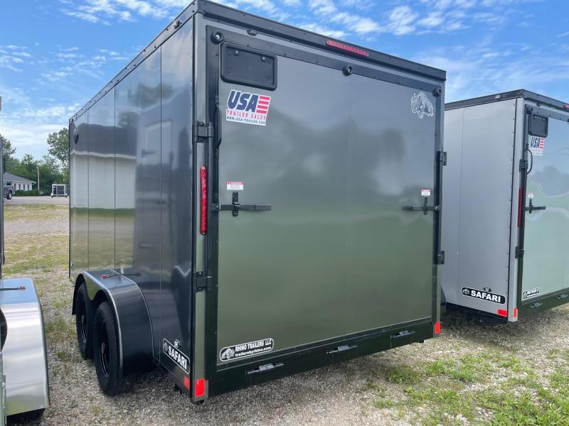7 x 14 7K Rhino Safari - Enclosed Trailer - w/ Ramp Door 7,000 GVW  6ft 6IN Interior